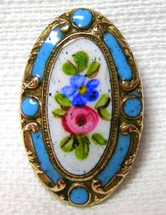 ANTIQUE WHITE & ROBIN'S EGG BLUE CHAMPLEVE ENAMEL BUTTON w/ROSE & FORGET-ME-NOT
