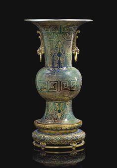 AN UNUSUAL PAINTED ENAMEL 'ARCHAISTIC' VASE, GU - CHINA, QING DYNASTY, QIANLONG PERIOD (1736-1795)