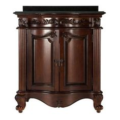 Belle Foret Estates 31 in. Vanity in Rich Mahogany with Granite Vanity Top in Black-ETGVT3021 - The Home Depot