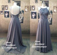 Dark Grey / Charcoal Prom Dress Sexy Bead by ZaneBoutiqueDress