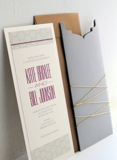 Gold and Gray Modern Custom Wedding Invitation Pocket Set, Gold Twine, Save the Date, Stationery and Party