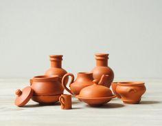 Vintage Miniature Handmade Terra Cotta Pots by LittleDogVintage