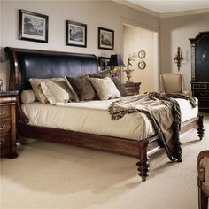 Shop for the Century Consulate King Upholstered Napoleon Bed with Leather at BigFurnitureWebsite - Your Furniture & Mattress Store Boho Bedroom Decor, Cozy Bedroom, Queen Bed Rails, Wooden King Size Bed, Bedroom Candles, Wood Bedroom Furniture, Furniture Ideas, Woman Bedroom, Bed Design