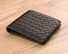 Stockton - Handmade woven coffee lambskin genuine leather compact wallet