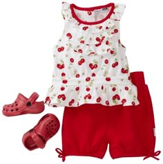 Vitamins Baby Girl Infant Cherries Three-Piece Short Set With Shoe