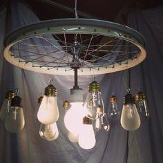 bike rim chandelier