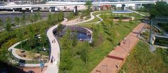 Cumberland Park demonstrates Nashville's commitment to both its children and to sustainability through brownfield remediation, floodplain preservation, stormwater harvesting, improved biodiversity, and interpretation of cultural and natural resources. Contemporary Landscape, Urban Landscape, Landscape Design, Architecture Details, Landscape Architecture, Cumberland Park, Walkable City, Linear Park, New Urbanism