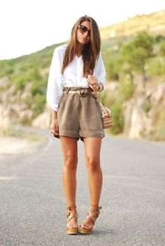 belted high shorts