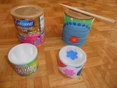 Reutilizar y Crear: Botes metalicos con tapa (botes de leche, de cafe...)