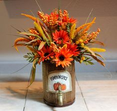 Fall Pumpkin Spice Wood Barrel Floral Arrangement by PamsDeZines