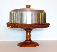Mid Century Cake Stand Wood with Aluminum Cover Teak and Aluminum (46.50 USD) by DsTrove