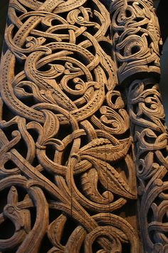 Medieval Wood Carvings in Acanthus pattern, Stave Church Portal, Norway