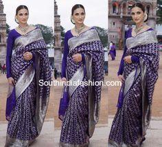shilpa reddy purple saree full sleeves blouse