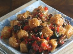 Fried tofu with peppers, honey, and mushrooms - a healthy but filling vegetarian recipe for Meatless Monday
