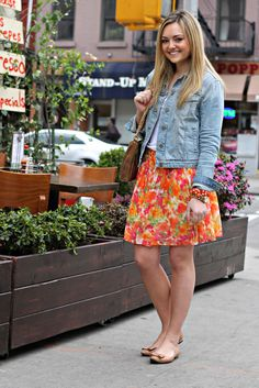 jean jacket and skirt outfit - Google Search