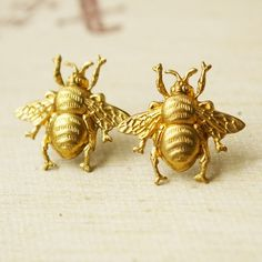 Bumble Bee Gold Brass Insect 0.75in Stud Earrings, $20 via Etsy --- (Look: http://etsy.me/qRkm2E)