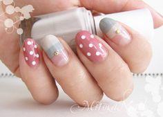 Nails / Dots / Border / Cute / Pink