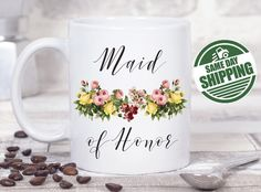 maid of honor gift, gift sister, maid of honor mug, maid of honor gift from bride, maid of honor gift, maid of honor proposal, maid of honor  This cute design will be printed on best quality Grade A fully white Mugs or Mugs with black handle. If you prefer, we can print design on one side and special message on the other side. Kindly specify in order notes. We use dye sublimation and heat transfer technique to print the design on the mugs. This ensures that the design and the words will look…