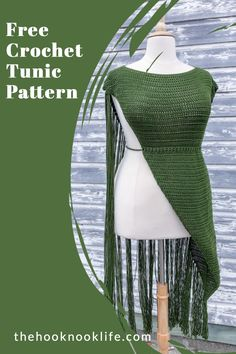 Make this beautiful Tunic using the Free Crochet Pattern on The Hook Nook Life Blog! Crochet Tunic Pattern, Diy Crochet Patterns, Knitting Patterns Free, Crochet Stitches, Double Crochet, Single Crochet, Easy Crochet, Free Crochet, Crochet Sweaters
