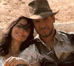 Karen Allen as Marion Ravenwood and Harrison Ford as Indiana Jones from Raiders Of The Lost Ark