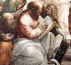 """Rafaël, """"De school van Athene"""", detail,   Pythagoras, een Grieks wiskundige, wijsgeer en hervormer"""