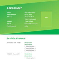 Modern green CV - Moderne Lebenslauf-Vorlage mit grünem Farbverlauf