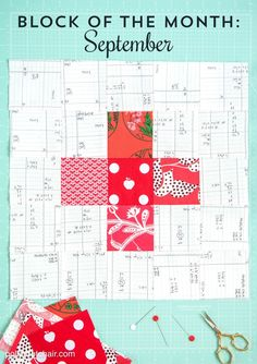 September Quilt Block of the Month: a tutorial for a Plus Block - join in the quilt along and learn how to make a quilt (even if your a beginner) yourself in 12 easy steps. Just 1 block per month.
