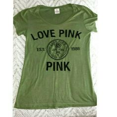 PINK tshirt Letters are perfect just a small mark on the bottom of the shirt as shown in pic .. Army green color PINK Victoria's Secret Tops Tees - Short Sleeve