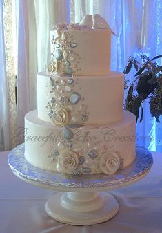 Elegant White Wedding Cake with Jem Stones and Pearls | by Graceful Cake Creations