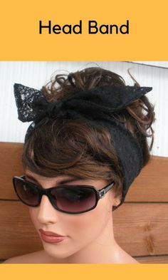 Womens Headband Dolly Bow Headband Summer Fashion Accessories Hair Wrap Women Lace Head Scarf in Black - Choose color #ad #hairaccessories