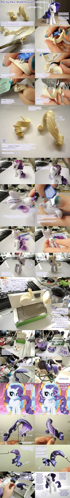 I forgot to say please use a spray varnish or other clear protective coat on the hair before attaching to make it glossy and avoid scratches This is a simple walk through of how I made my rarity wi. Cumple My Little Pony, My Little Pony Party, Fondant Figures Tutorial, Cake Topper Tutorial, Fondant Animals, Clay Animals, Sculpey Clay, Polymer Clay Projects, Biscuit