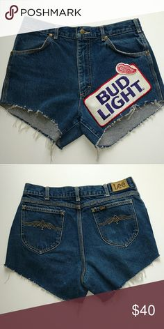 """Vintage Lee High Waisted Denim Cut Off Shorts Embellished with a 90s Bud light Patch. These are vintage so sizing is best determined by looking at the measurements  Waist 31"""" Hip 19"""" Flat Rise 11"""" Length 12"""" Lee Shorts Jean Shorts"""