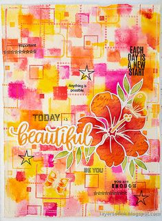 Layers of ink - Bright Squares Background Tutorial by Anna-Karin Evaldsson. Made with stamps by Simon Says Stamp. Art Journal Pages, Art Journals, White Anemone Flower, Flamingo Painting, Simon Says Stamp Blog, Old Letters, Mixed Media Techniques, Artist Trading Cards, Card Maker