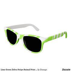 Lime Green Zebra Stripe Animal Print White Sunglasses
