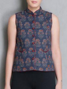 Indigo-Red Ajrakh Printed Cotton Sleeveless Jacket