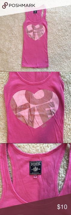 💝Valentines Sale!💝VS PINK // Pink Ribbed Tank Love Pink, Victoria's Secret Pink ribbed tank with heart on front. PINK Victoria's Secret Tops Tank Tops