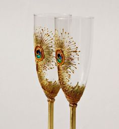 Goldy Peacock Champagne Flutes