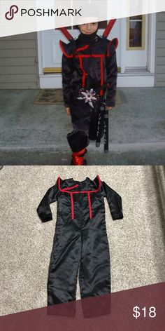 👻Boys Ninja Costume 🎃 Handmade Costume, Black Satin Fabric with Red Trim. Just the jumpsuit available. All accessories can be purchased at any Halloween Shop. Costumes Halloween