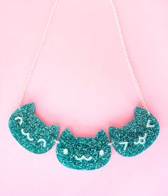 Kawaii Glitter Cat Faces  Necklace  20 Inch by thepinksamurai