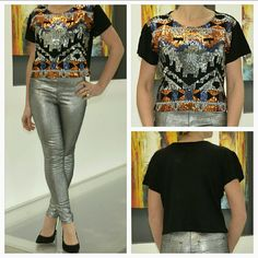 "Don't forget to sparkle in this sequin top!Nwt Fun and playful sequin top! Colored sequins in a geometric pattern cover this fabulous top. Pairs perfectly with our silver metallic pants!! Get your party on with this amazing top!!!   Brand new with tag Length approximately 19"" Bust armpit to armpit 21.5"" Size medium Colors black top with silver, orange,purple, light blue sequin 80% Acrylic 20% Nylon  Also available in S,M,L ((silver metallic pants are also available in my closet)) Tops"