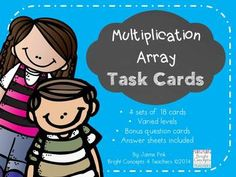 Multiplication Array Task Cards: 72 cards to help with beginning multiplication and repeated addition strategies. $