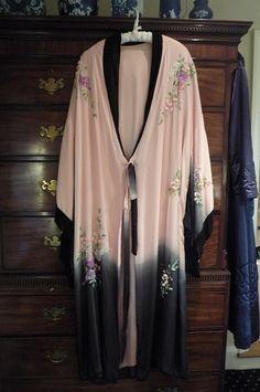 Vintage 1913 silk chiffon embroidered kimono