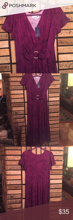 Purple Maxi Dress Nice purple maxi-dress. High waisted with attached belt. Short sleeves, V-Neck. Stretchy comfortable fabric. Liz Lange Dresses Maxi