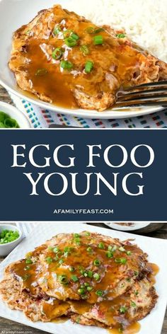 Egg Foo Young is a Chinese egg omelet loaded with chopped vegetables and meat of your choice. Serve it with a flavorful brown gravy on top! food Egg Foo Young - A Family Feast® Homemade Chinese Food, Chinese Chicken Recipes, Easy Chinese Recipes, Asian Recipes, Healthy Recipes, Ethnic Recipes, Chinese Desserts, Chinese Food Dishes, Healthy Food