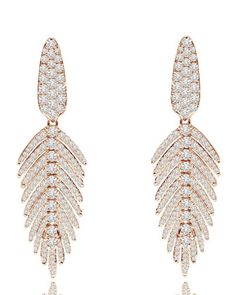 83dfd4fb7255 18K+Rose+Gold+ +Diamond+Feather+Drop+Earrings+