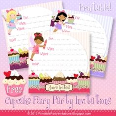 Free Printable Cupcake Fairies Invitations