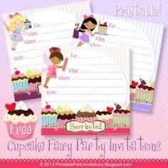 Free Printable Cupcake Fairies Invitations