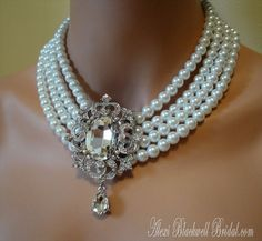 Princess Wedding Necklace Set with Long Pear Shaped Pearl Earrings by AlexiBlackwellBridal, $125.00