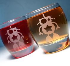 Robot Rocks Glass - etched whiskey glass