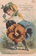 Antique Victorian ad trade card-Broom Soap-Pansy Girl- 1885